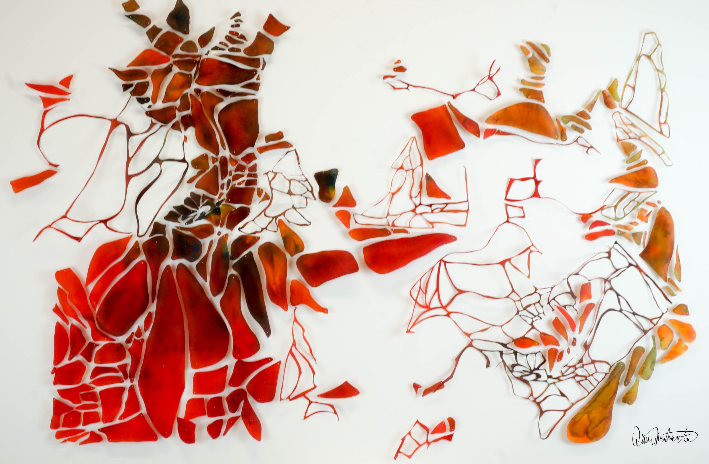 """Diane Deery Richards"", ""Metamorphosis"", Hand-dyed Silk mounted on acetate with pins on foam core 2016"