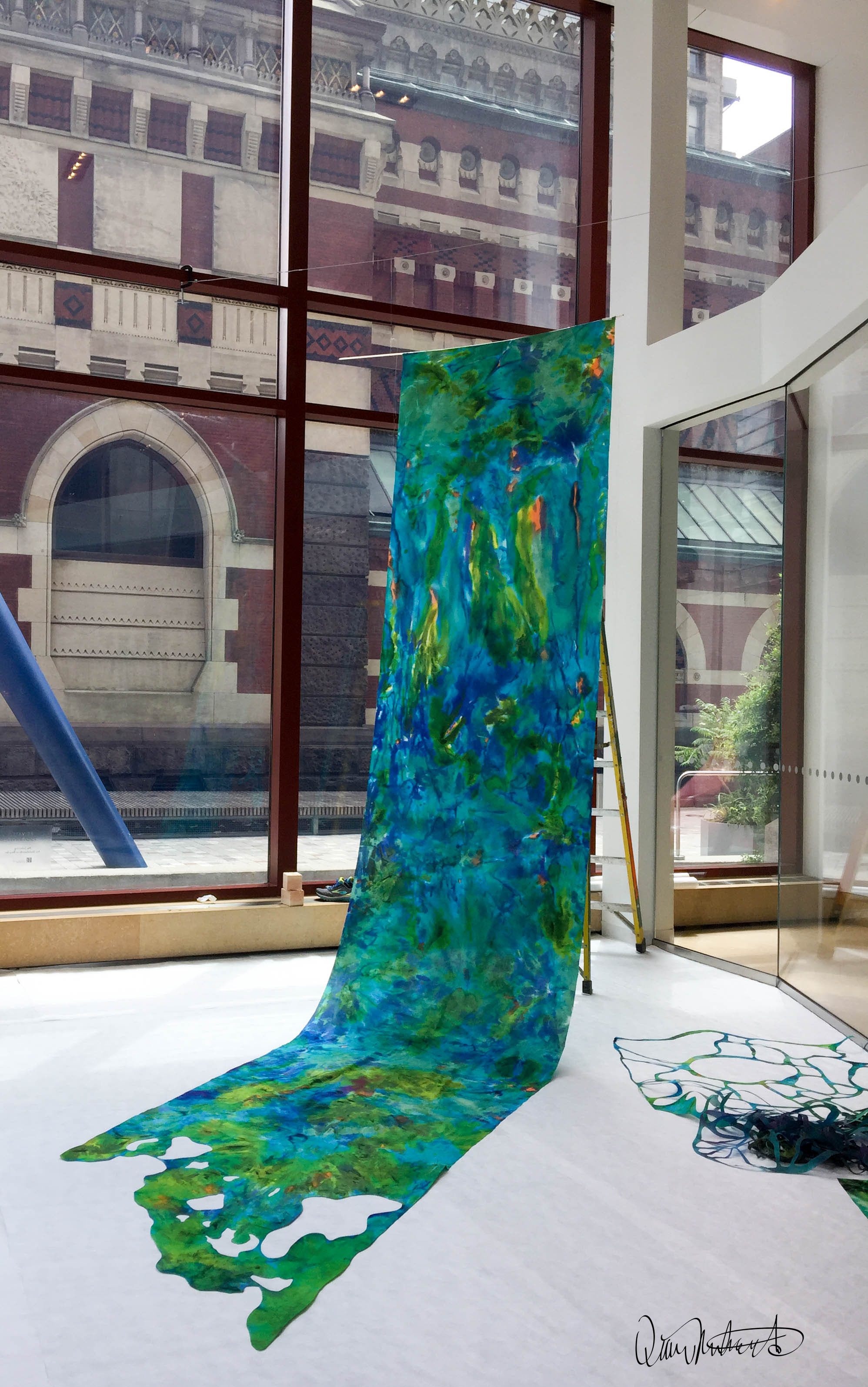 """Diane Deery Richards"", ""Washed Away"", installation ""Broad Street Gallery PAFA"" Hand-dyed Silk, acetate and pins 2017"